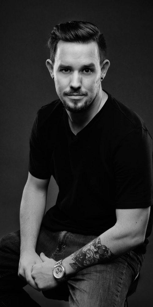 Male Model Professional Headshot in Black & White