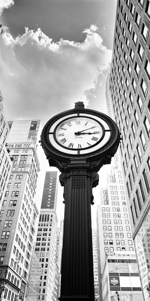 New York City Street Clock Black and White Photo