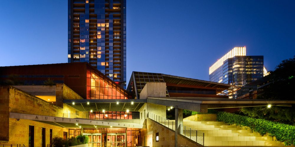 Austin City Hall At Night Texas Photography